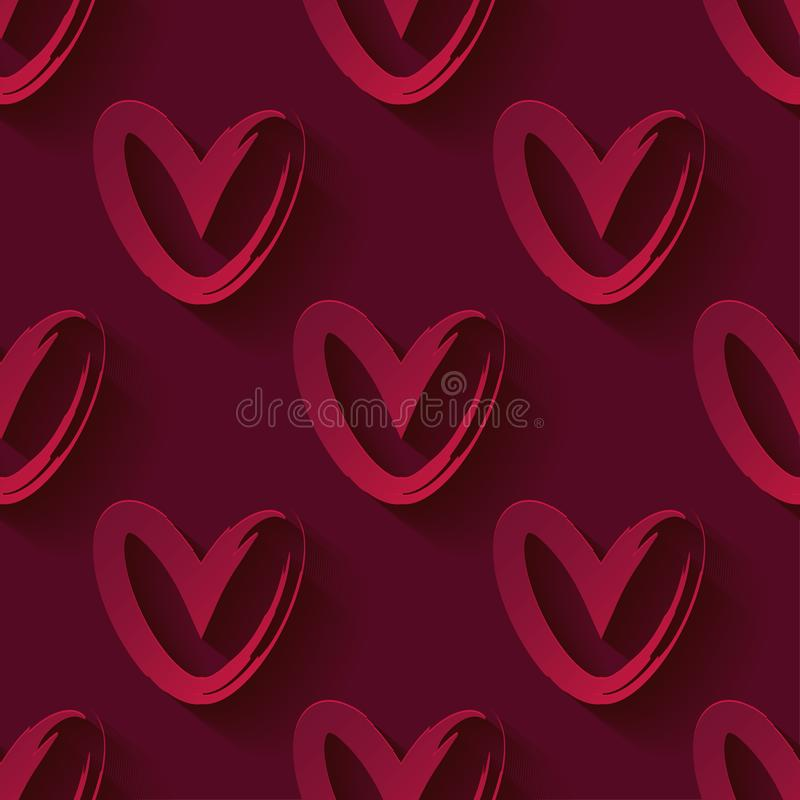Seamless pattern with decorative red 3D hearts. Red hearts on a red background. Valentine`s day. Vector illustration. royalty free illustration