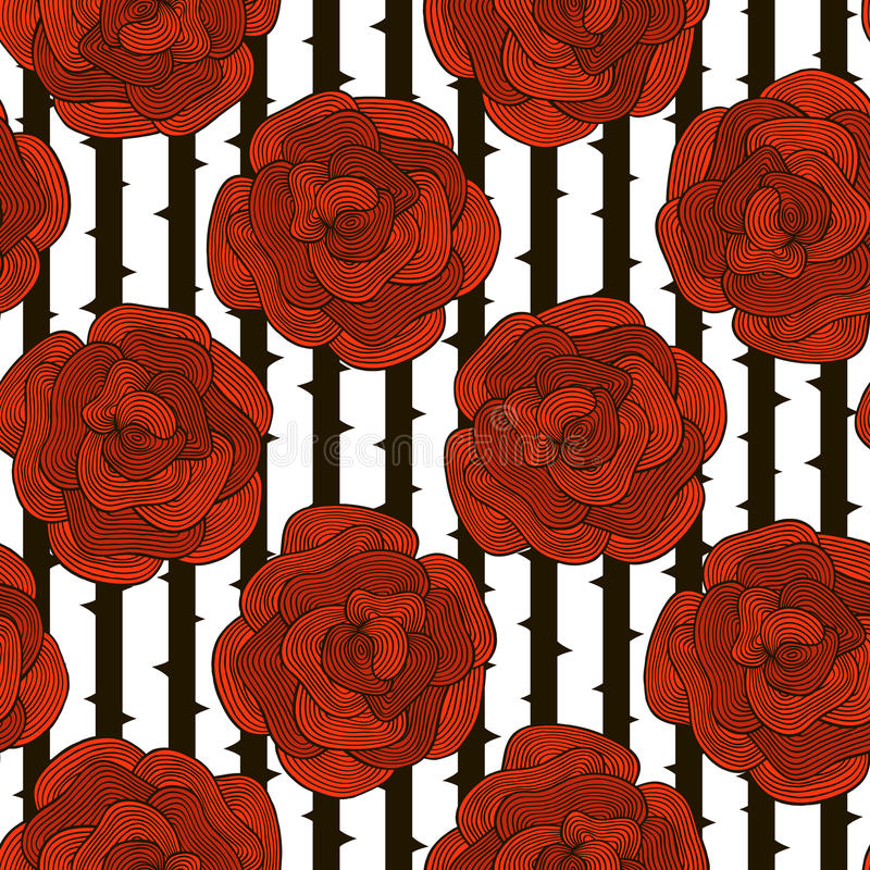 Seamless pattern of decorative red roses on a striped black and stock illustration