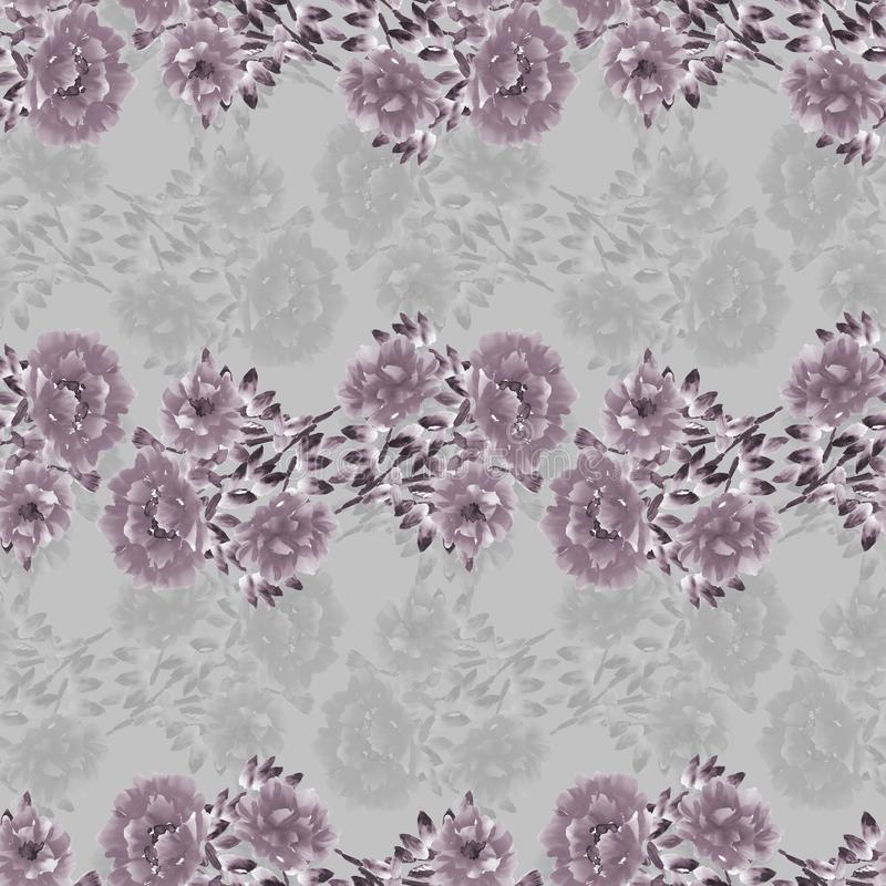 Seamless pattern of deep pink and gray wild flowers on a gray background. Watercolor stock illustration