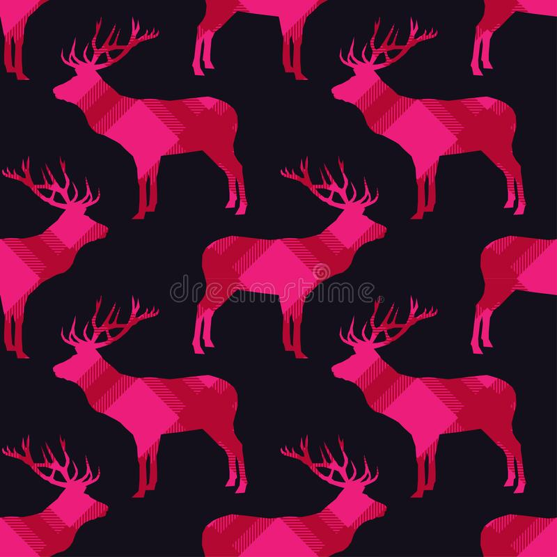 Seamless pattern with deer with plaid texture. Tartan. Scottish, English fabric. Vector illustration. royalty free illustration