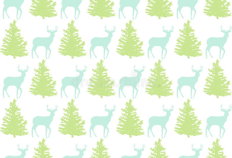 Seamless pattern with a deer and a tree for winter holidays design. Vector illustration stock illustration