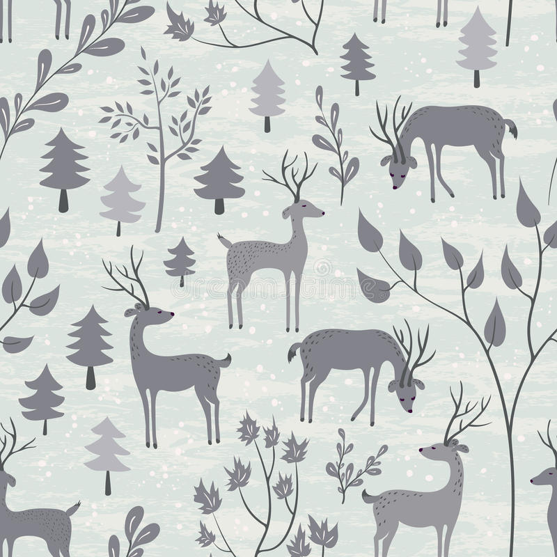 Seamless pattern with deer in winter forest vector illustration