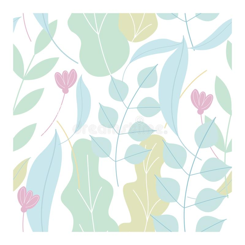 Seamless pattern of delicate flowers and leaves in cartoon style. On white background. stock illustration