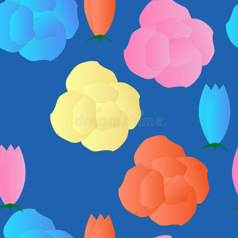 Seamless pattern with delicate flowers of marshmallow vector illustration