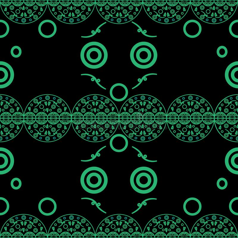 Seamless pattern delicate openwork circles green on black stock illustration