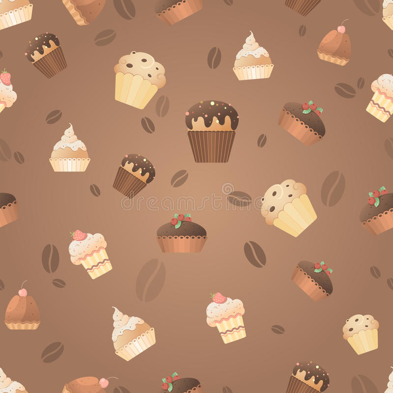 Seamless pattern with delicious sweet muffins