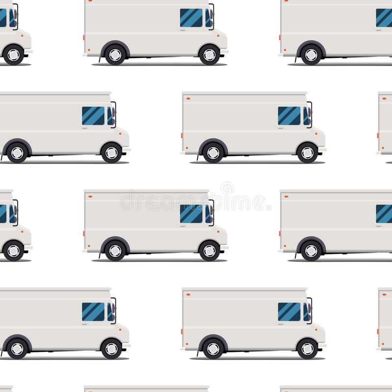 Seamless pattern of delivery trucks stock illustration