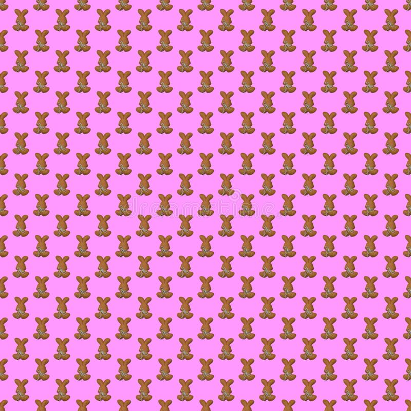 Seamless pattern. Design element for wallpaper, wrapping paper, textile prints and etc. Easter rabbit cover design. Pink rose color royalty free illustration