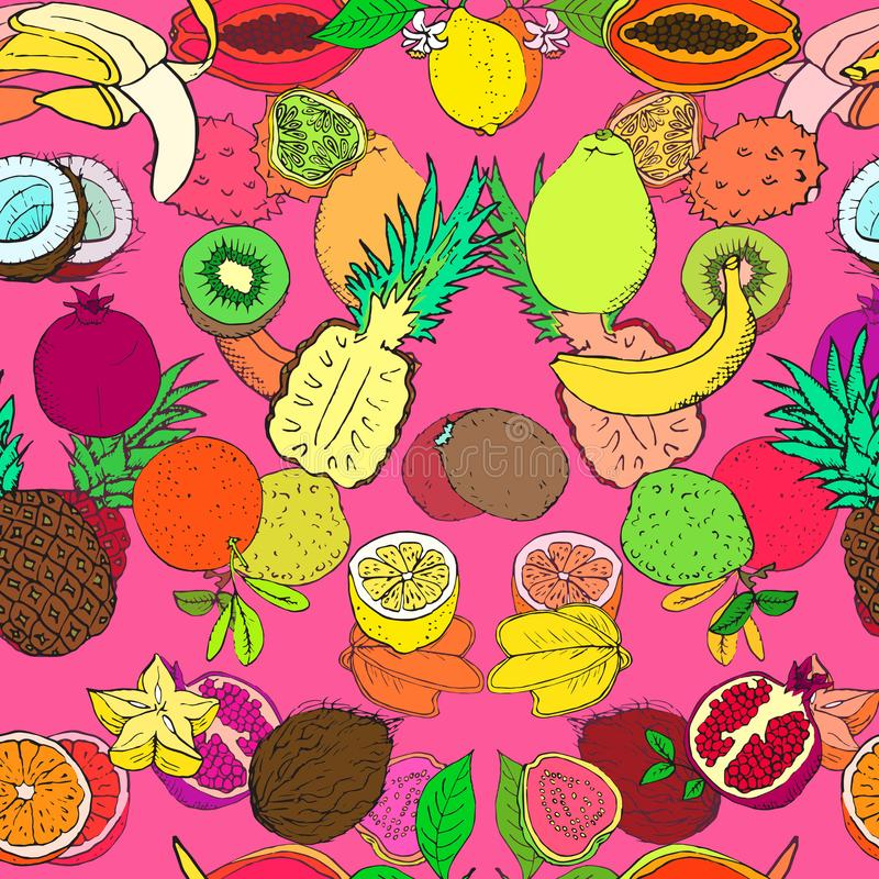 Tropical fruits collection, seamless pattern design on bright pink background royalty free illustration