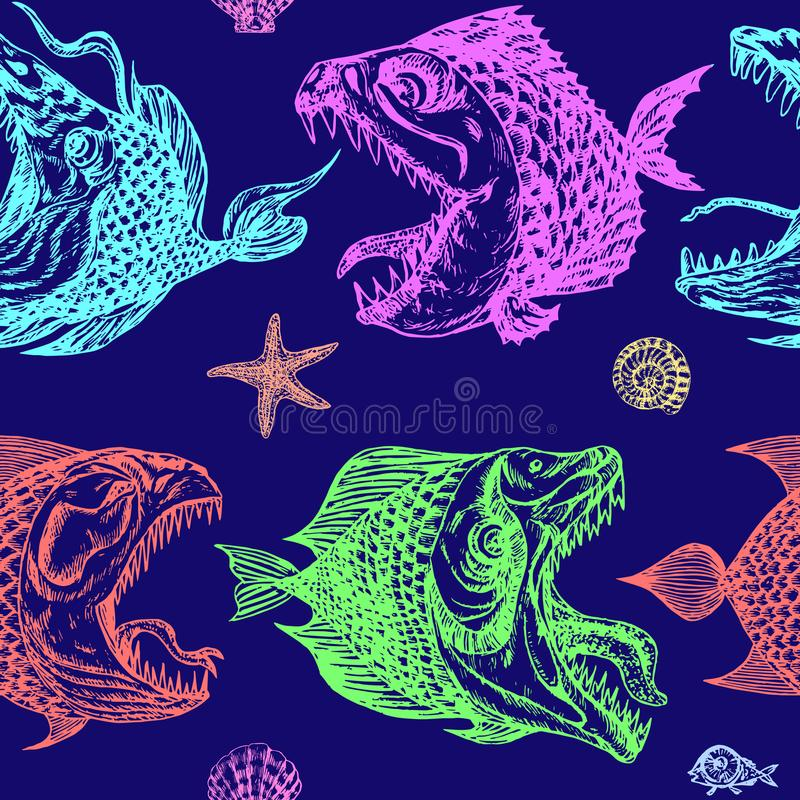 Piranhas fishes profile, open mouth with sharp teeth and long tongue. Seamless pattern design, hand drawn doodle, sketch in pop art style on dark blue background stock illustration