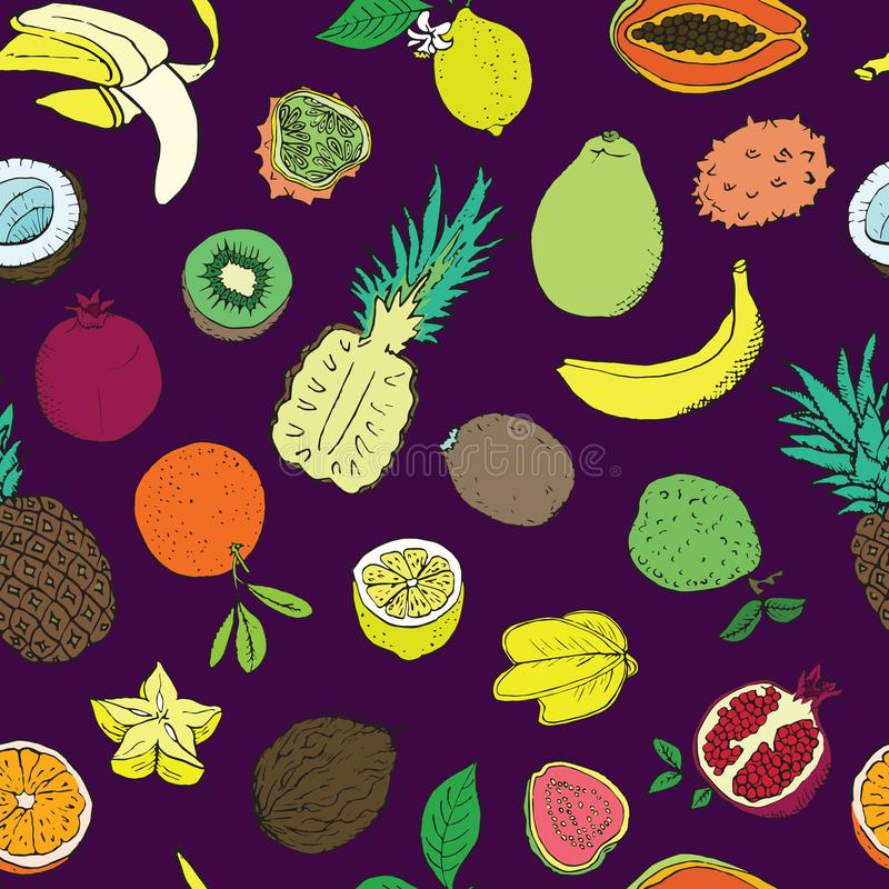 Tropical fruits collection, seamless pattern design on dark purple background vector illustration