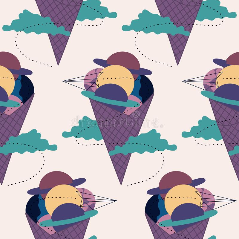 Seamless pattern design with purple and blue galactic ice cream. Perfect to use on the web or in print vector illustration