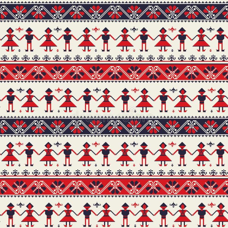 Seamless folk Romanian pattern vector illustration