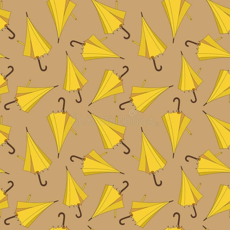 Seamless pattern design with yellow beach umbrellas vector illustration