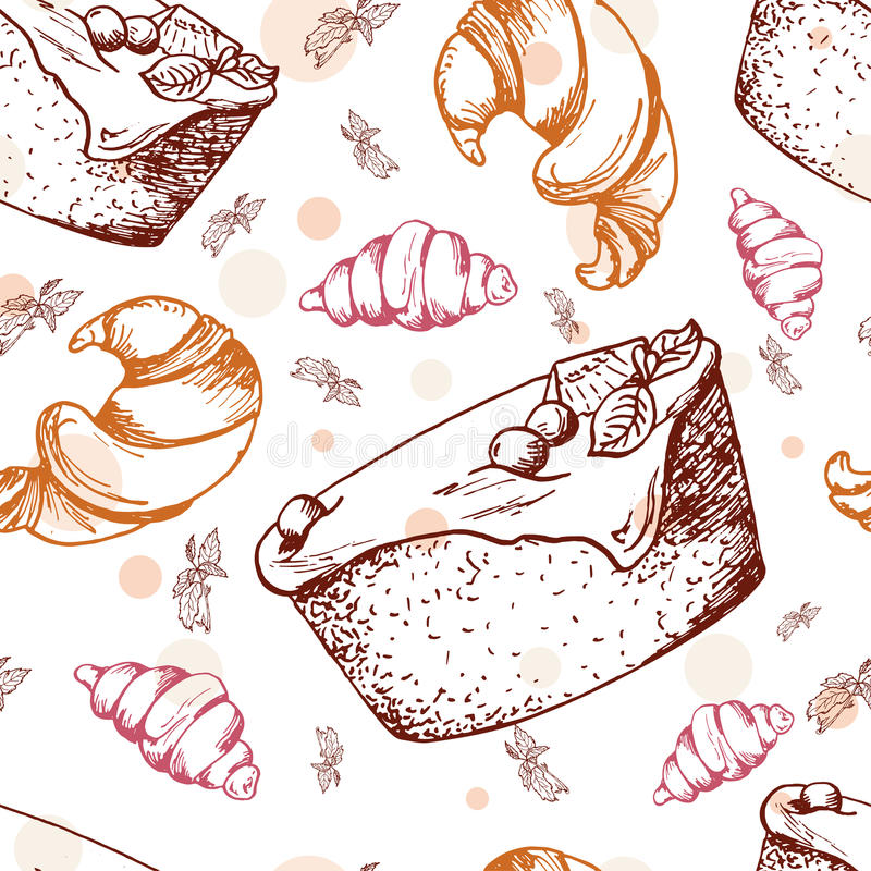 Seamless pattern with desserts. Hand drawn brownie, croissant, pastry. Vector illustration for your design. stock illustration