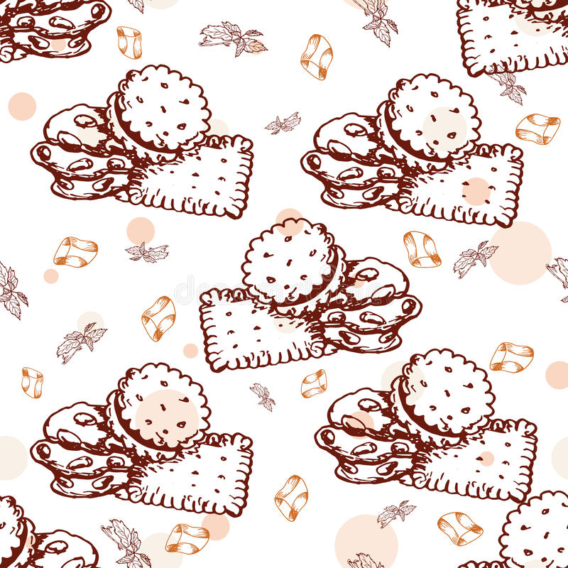 Seamless pattern with desserts. Hand drawn cookies and candy. Vector illustration for your design. Seamless pattern with desserts. Hand drawn cookies and candy vector illustration