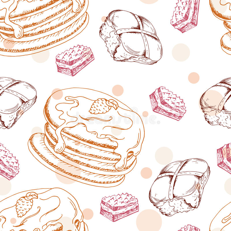 Seamless pattern with desserts. Hand drawn pancakes and buns. Vector illustration for your design stock illustration