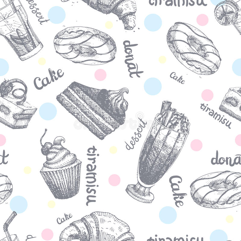 Seamless pattern with desserts hand drawn pancakes and sweet buns sketch cake cream vector illustration. Bakery delicious backdrop biscuit background royalty free illustration
