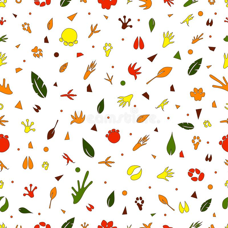 Seamless pattern with different animal tracks stock image
