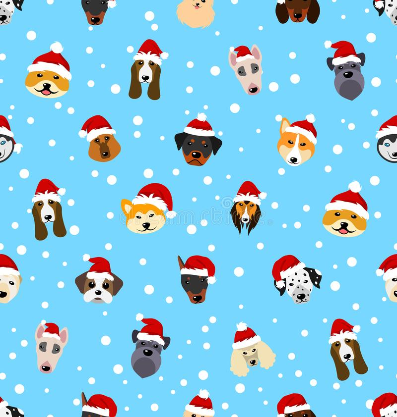 Seamless Pattern with Different Breeds of Dogs in Hats of Santa Claus stock illustration