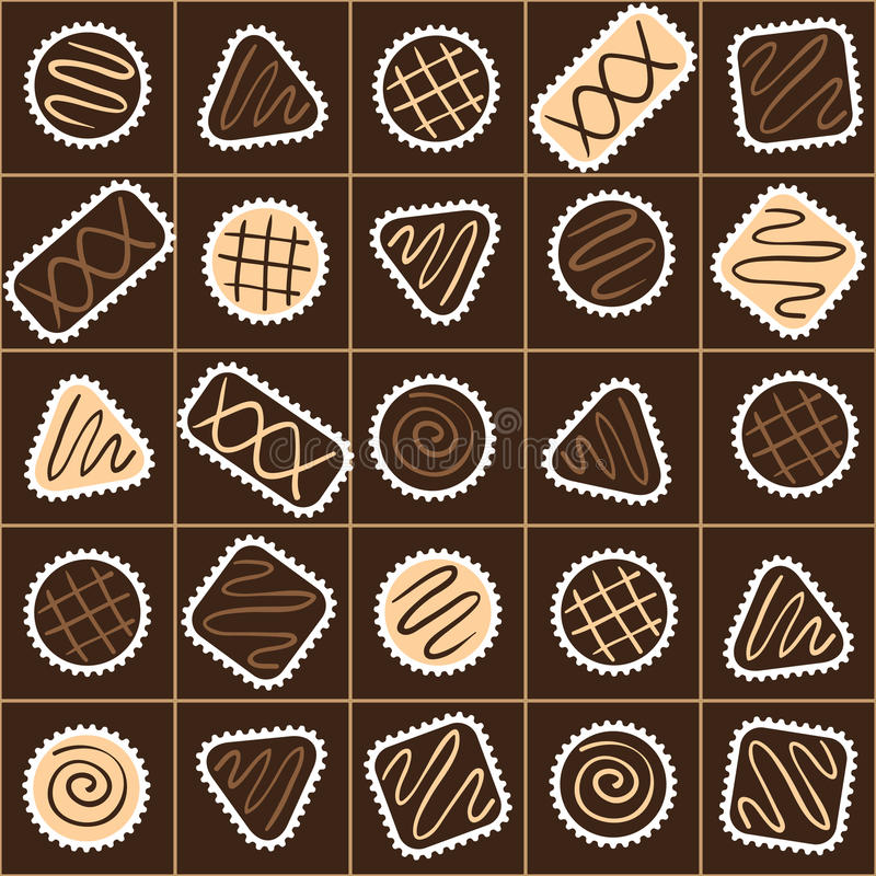 Seamless pattern with different chocolate candies in a box royalty free illustration