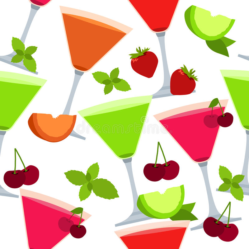 Download Seamless Pattern With Different Cocktails Stock Photo - Image: 19360660