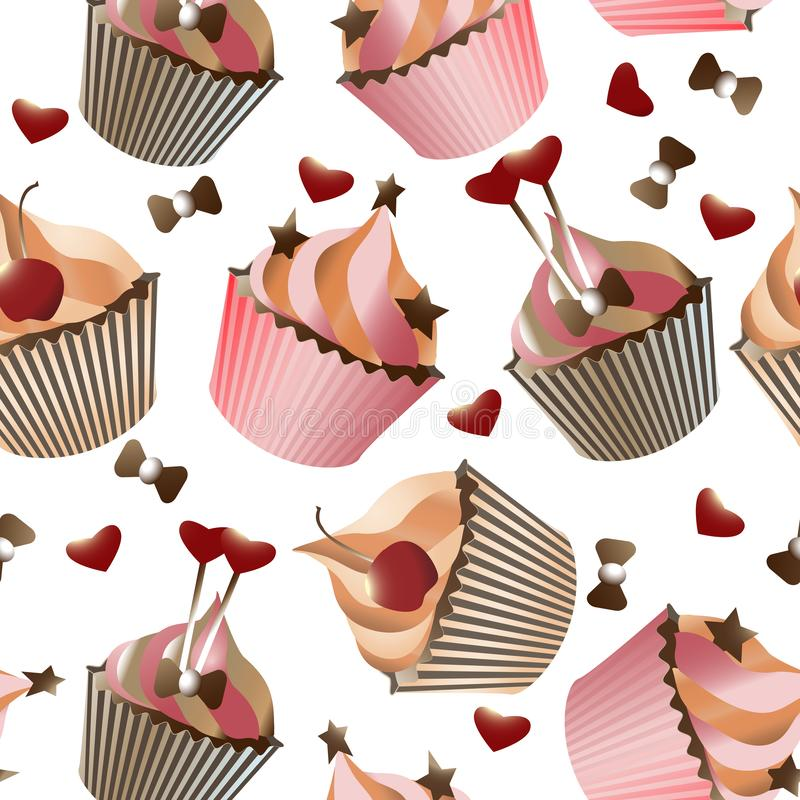 Seamless pattern with different cupcakes on a white background. Sweet pastries decorated with hearts, cherry, flower and star. Vector, muffin, design, cream royalty free illustration