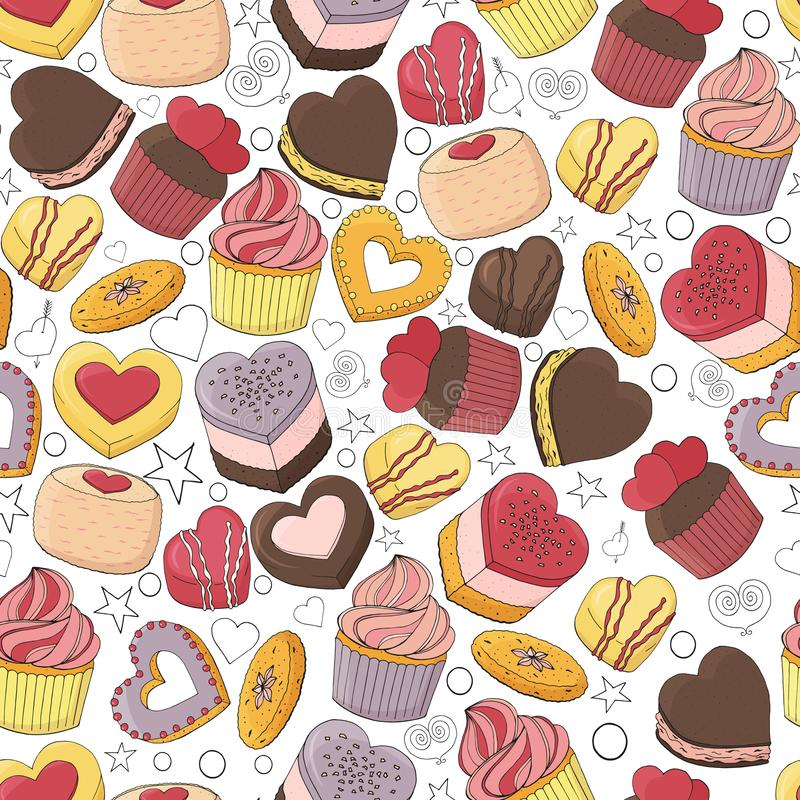Seamless pattern of different desserts,. Cakes, candy and food for Valentines day. Romantic endless texture. Hand drawn. Vector illustration royalty free illustration