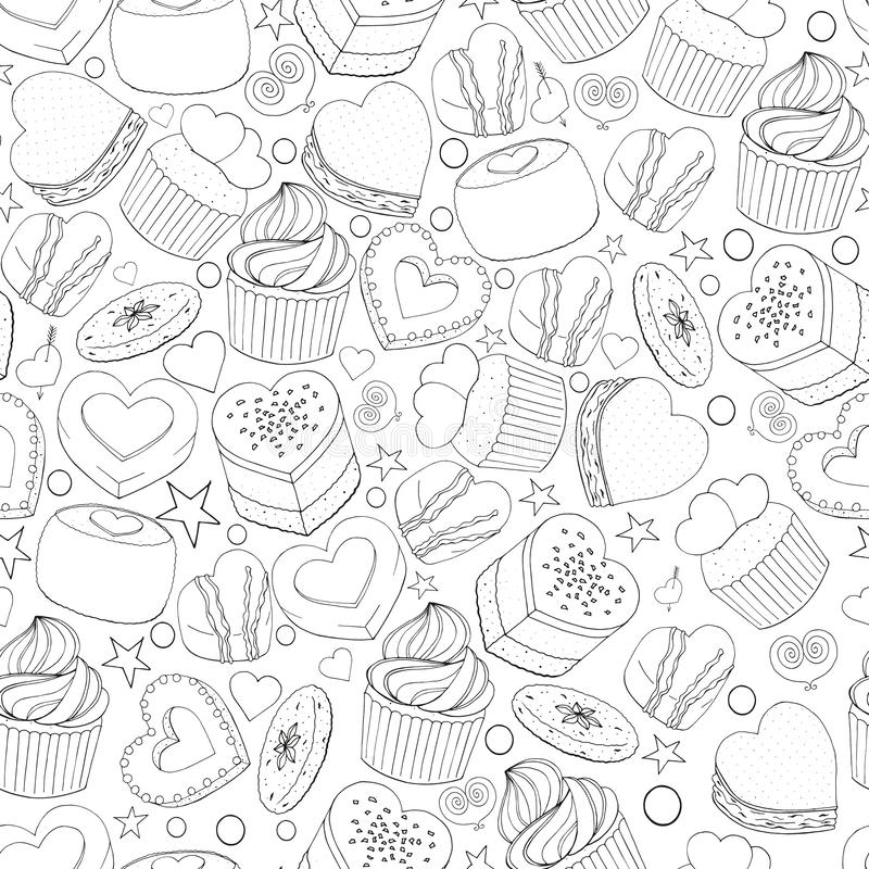 Seamless pattern of different desserts. Cakes, candy and food for Valentines day. Romantic endless texture. Hand drawn. Vector illustration. Black and white stock illustration