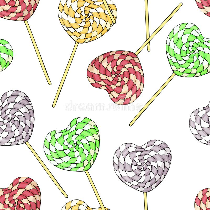 Seamless pattern of different desserts, lollipops. Romantic endless texture. Hand drawn. Vector illustration vector illustration