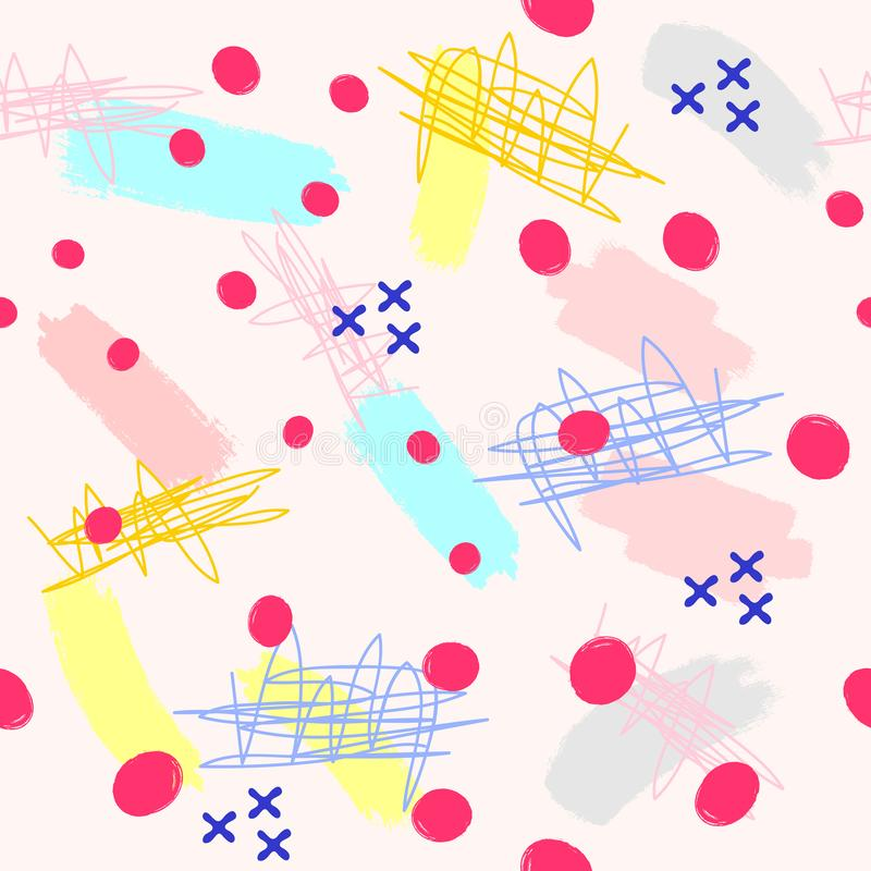 Seamless pattern with different elements drawn by hand. Creative seamless pattern for kids. Sketch, watercolor, paint. royalty free illustration