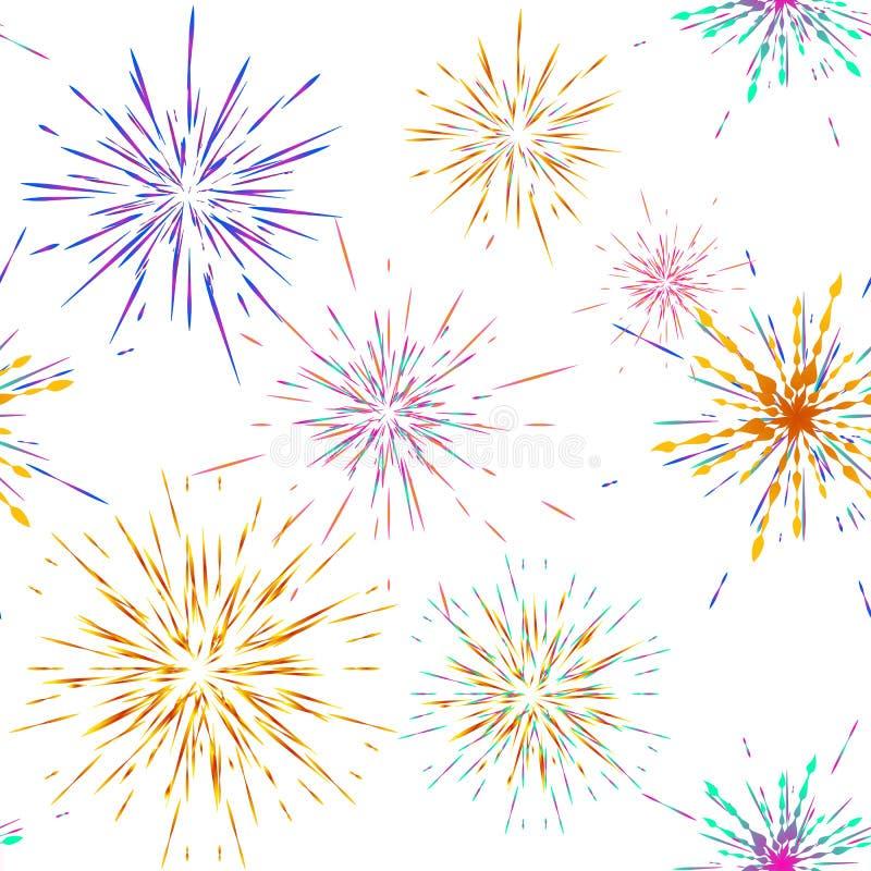 Seamless pattern different fireworks explosions. Vector holiday firework. For celebration, winner, victory poster. Seamless pattern fireworks explosions. Vector stock illustration