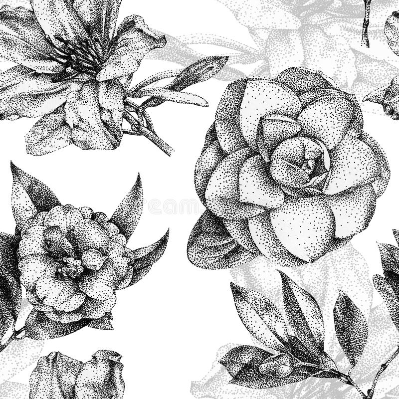 Download seamless pattern with different flowers and plants drawn by hand stock illustration illustration of