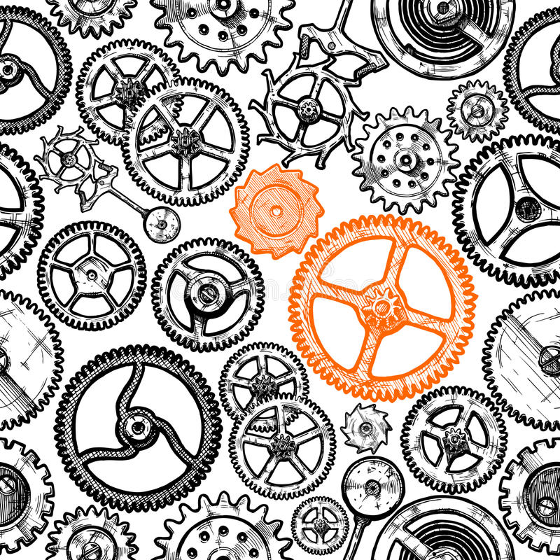 Seamless pattern with different gears stock illustration
