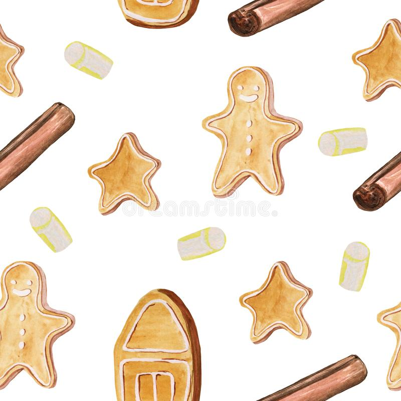 Seamless pattern with different ginger cookies and cinnamon sticks. Watercolor hand drawing illustration for prints, gift paper,. Cards, posters and backgrounds stock images