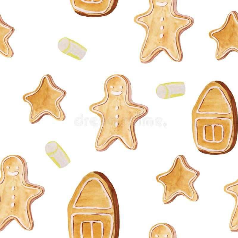 Seamless pattern with different ginger cookies. Watercolor hand drawing illustration for prints, gift paper, cards, posters and. Backgrounds. christmas royalty free stock photography