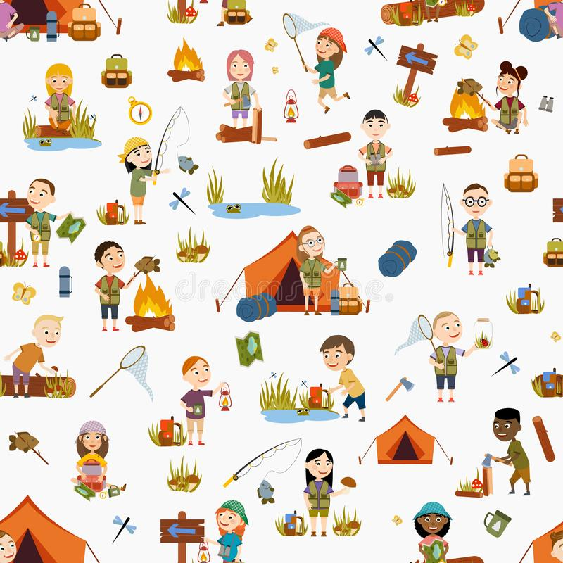 Seamless pattern. Different girls and boy tourist on nature. Camping. royalty free illustration