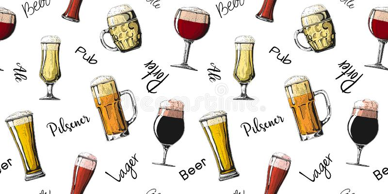 Seamless pattern with different glasses with beer, different mugs of beer. Vector illustration. Of a sketch style royalty free stock photography