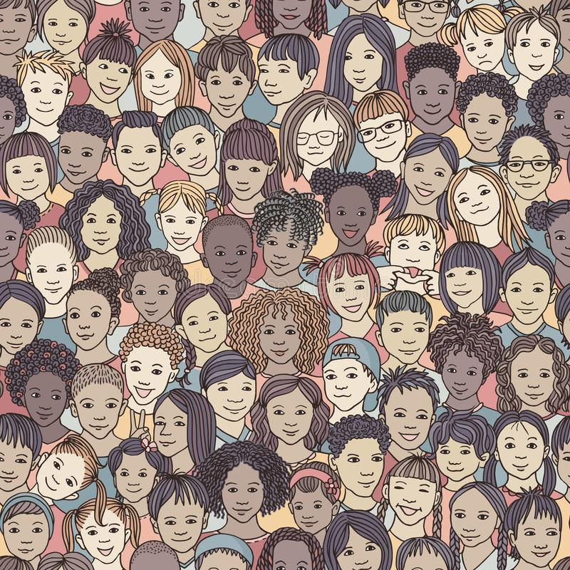 Diverse group of children, colourful pattern. Seamless pattern of 70 different hand drawn kids` faces, kids and teens of diverse ethnicity vector illustration