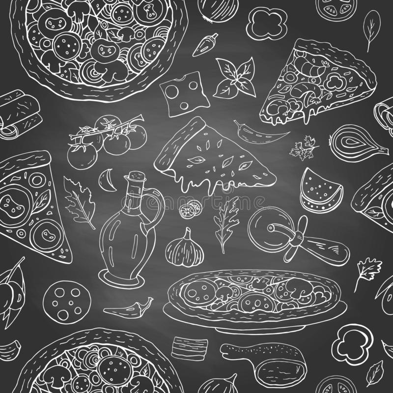 Seamless pattern with different italian food - pizza, olive oil and vegetables on black shalkboard. Hand drawn vintage italian vector illustration