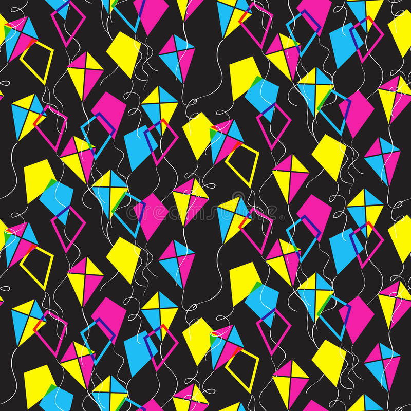 Seamless pattern with different kites vector illustration