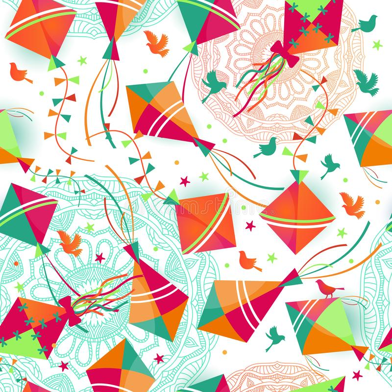 Seamless pattern with different colors kites. Vector illustration stock illustration