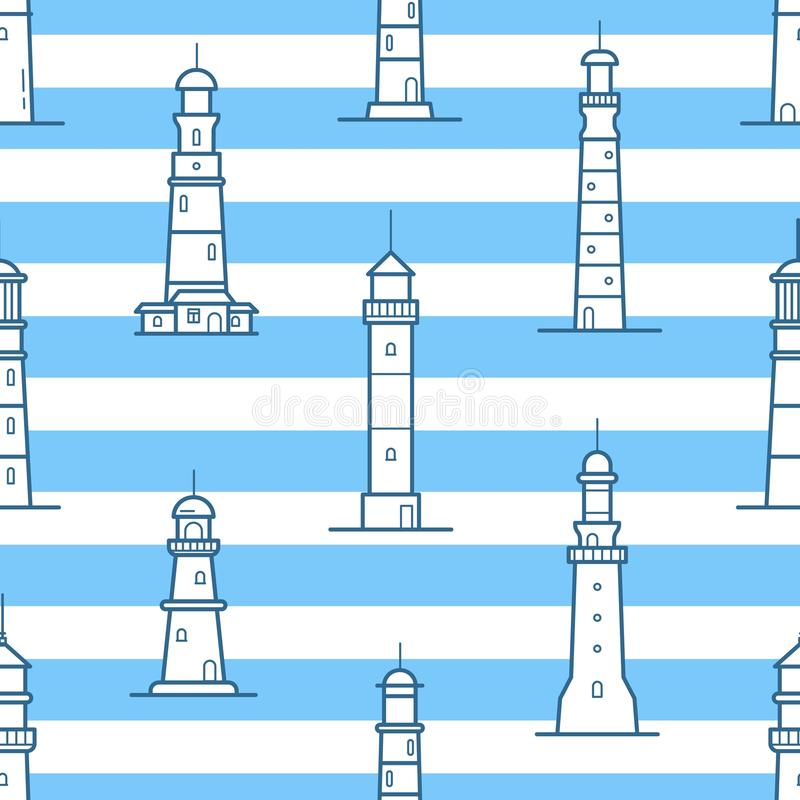 Seamless pattern with different lighthouses drawn with contour lines on striped background. Backdrop with towers for royalty free illustration