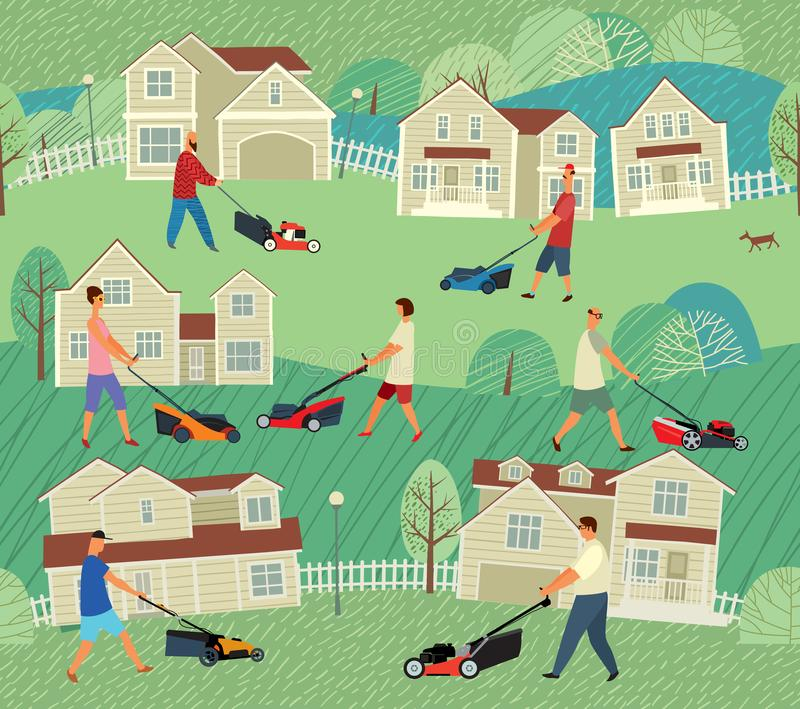 Seamless pattern. Different people mow grass with lawn mowers near houses. Vector full color graphics stock illustration