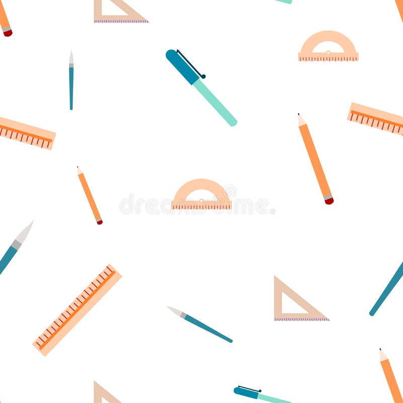 Seamless pattern of different school stuff. Isolated on a white background royalty free illustration