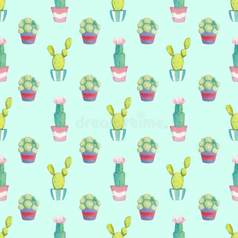 Seamless pattern with different green cacti in multi-colored pots stock photography