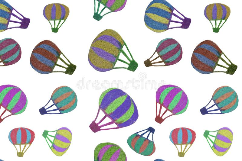 Seamless pattern of different size multi-colored hot air balloons isolated on white transparent background in high resolution stock illustration