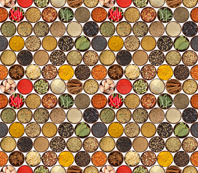 Seamless pattern with different spices isolated on white background. stock photo