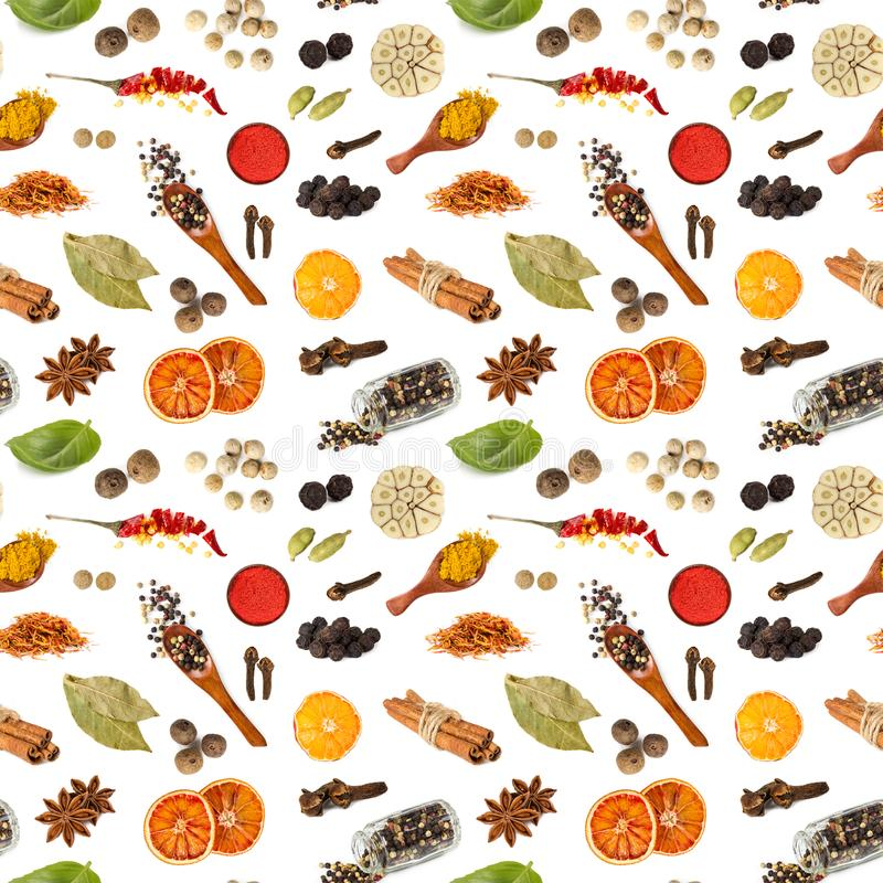 Seamless pattern with different spices royalty free stock photo