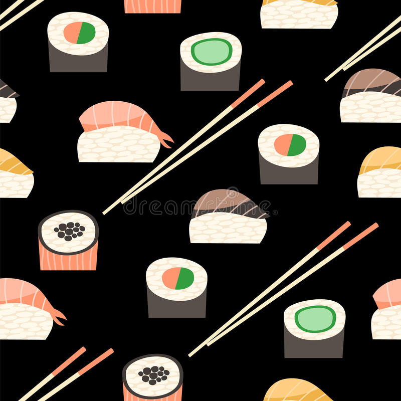 Seamless pattern with different types of sushi. Japanese food sushi roll vector background stock illustration